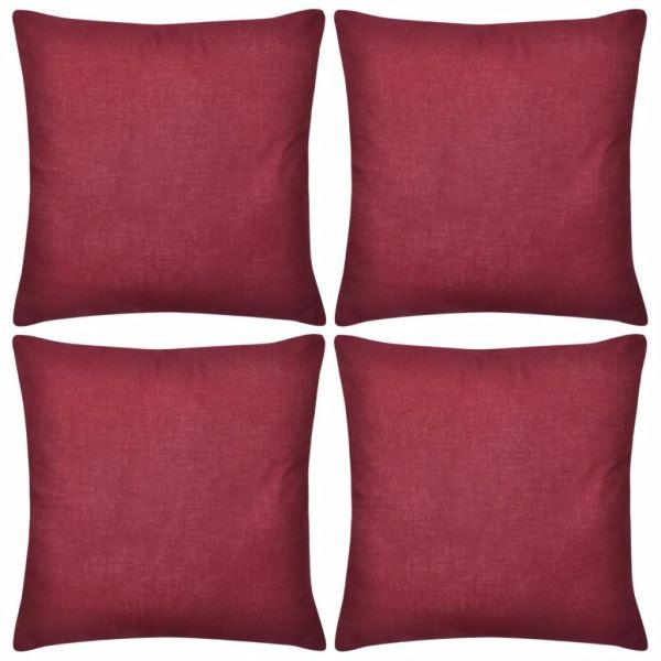 Huse de pernă din bumbac, 50 x 50 cm, roșu burgund, 4 buc.