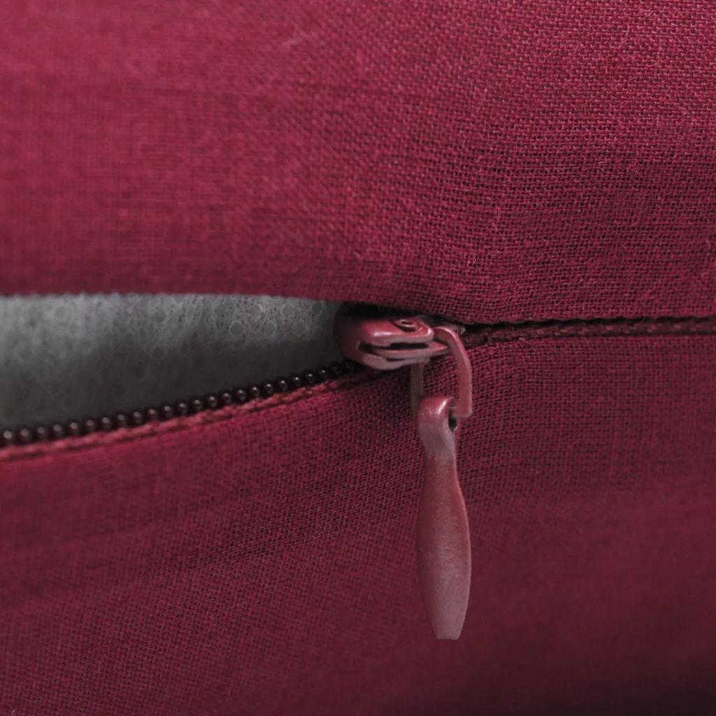 Huse de pernă din bumbac, 80 x 80 cm, roșu burgund, 4 buc.