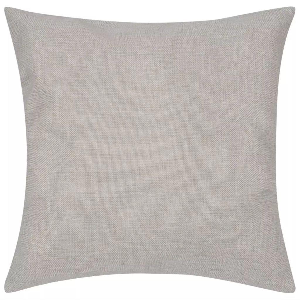 Huse de pernă cu aspect de pânză, 80 x 80 cm, bej, 4 buc.