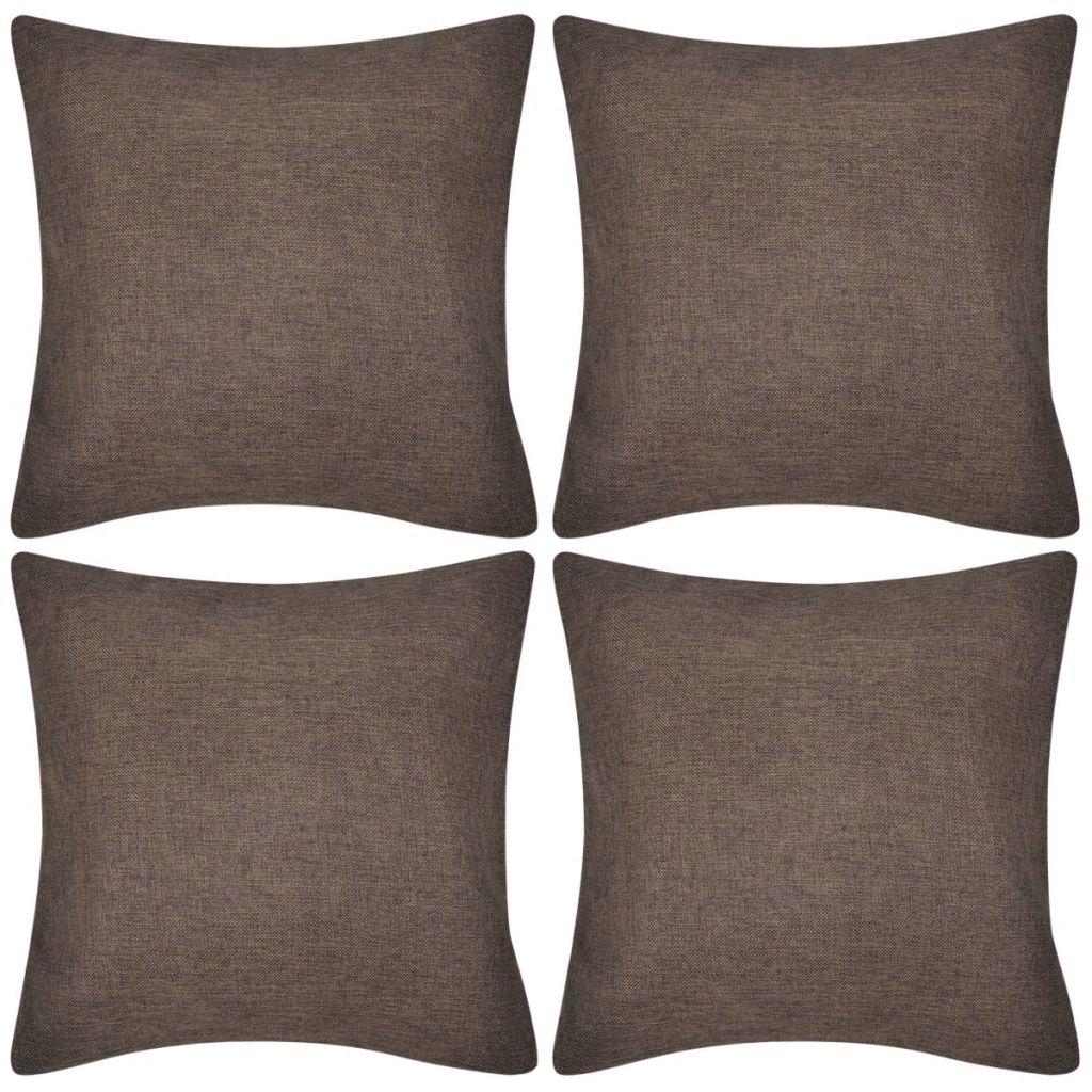 Huse de pernă din imitație de in maro 4 buc 50 x 50 cm