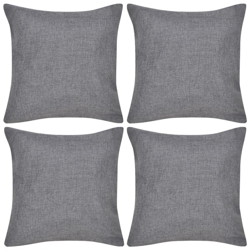 Huse de pernă, imitație de in, 40 x 40 cm, antracit, 4 buc.