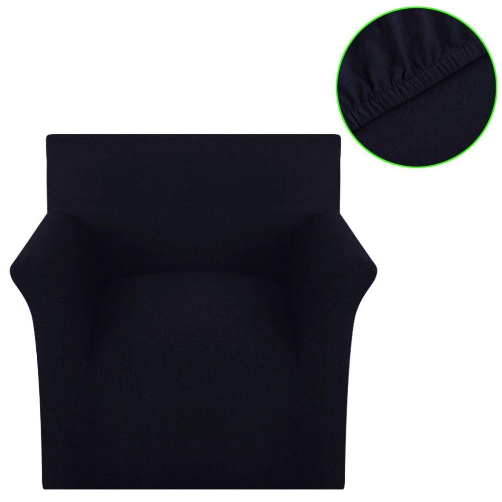 vidaXL Husă elastică pentru canapea, bumbac jersey, negru