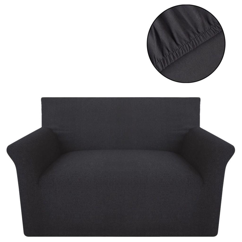 Husă elastică din bumbac Jersey pentru canapea, Antracit