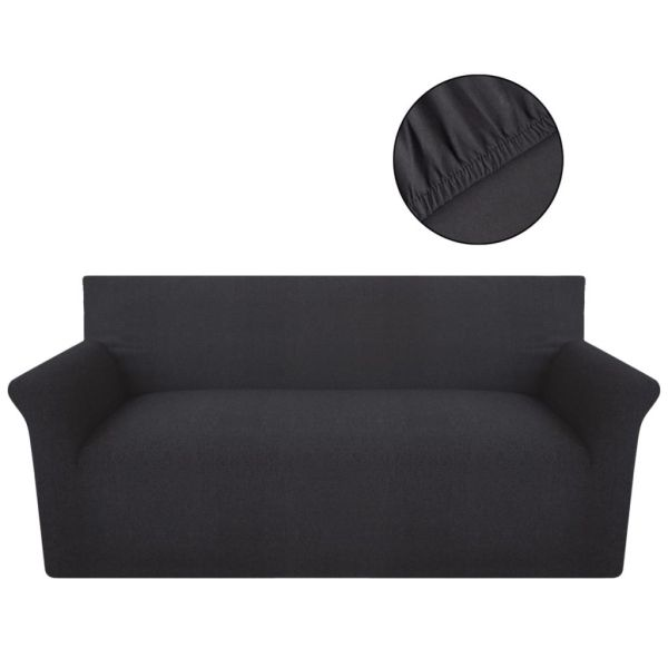 vidaXL Husă elastică pentru canapea din bumbac antracit jersey