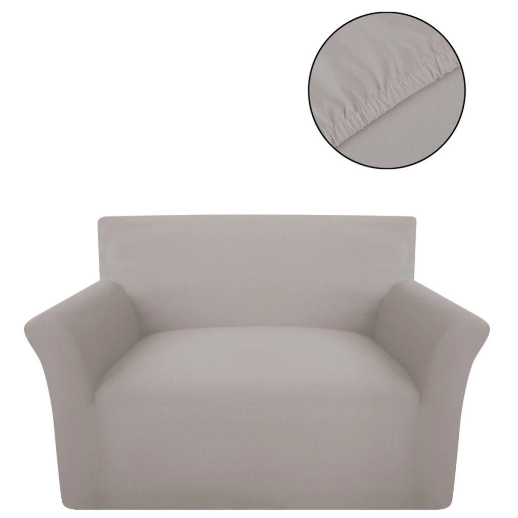 vidaXL Husă elastică din bumbac jerseu pentru canapea, bej