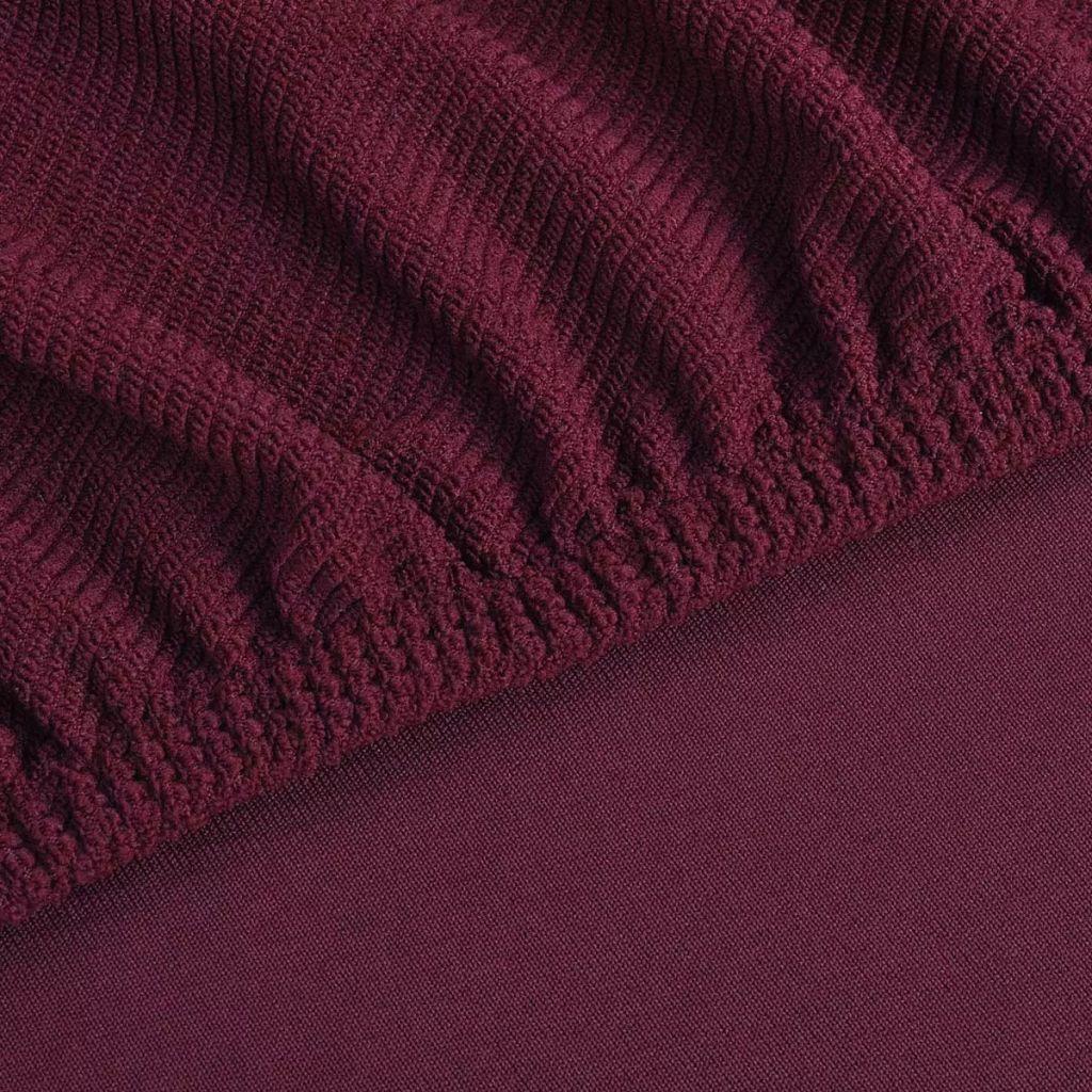 Husă elastică pentru canapea, poliester striații, roșu burgund