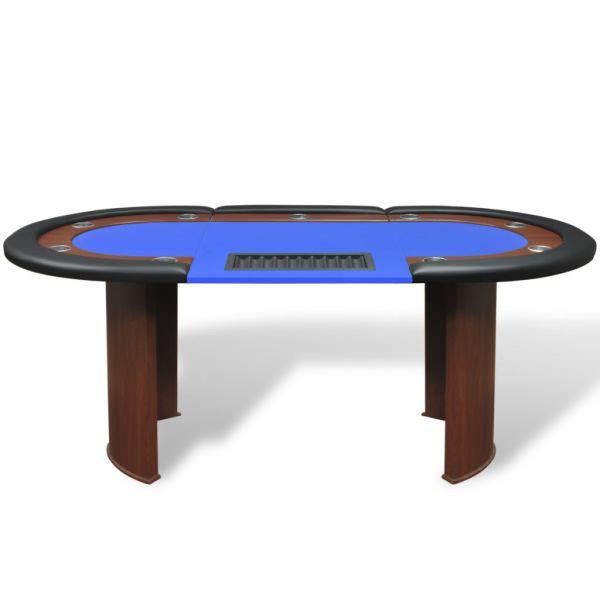 vidaXL Masă Poker 10 persoane, zonă dealer și suport jetoane, albastru