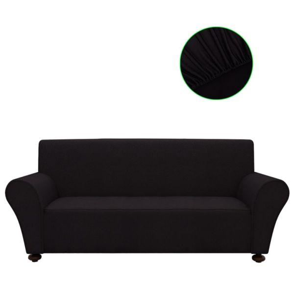 vidaXL Husă elastică pentru canapea poliester jersey negru