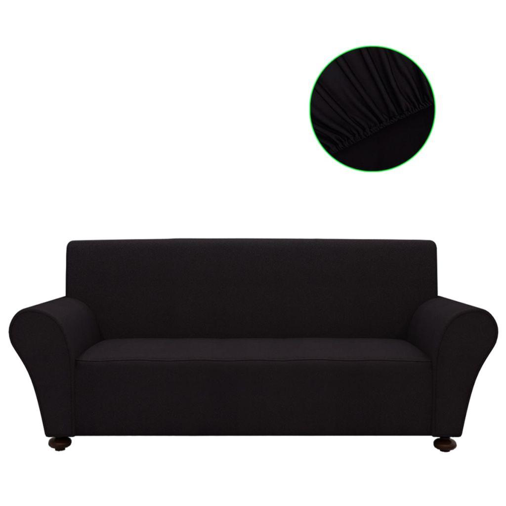Husă elastică pentru canapea poliester jersey negru