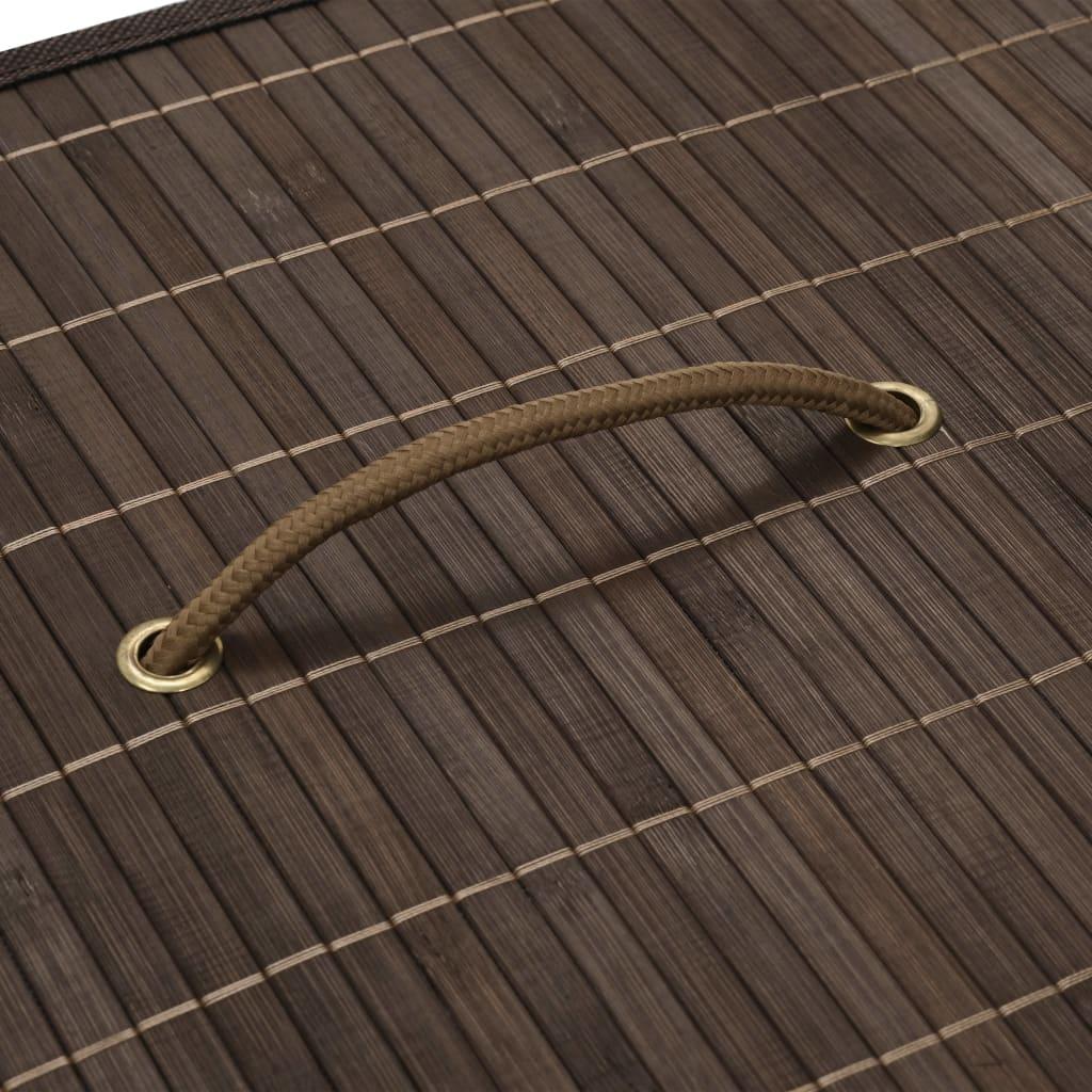 Coș de rufe din bambus, maro închis, dreptunghiular