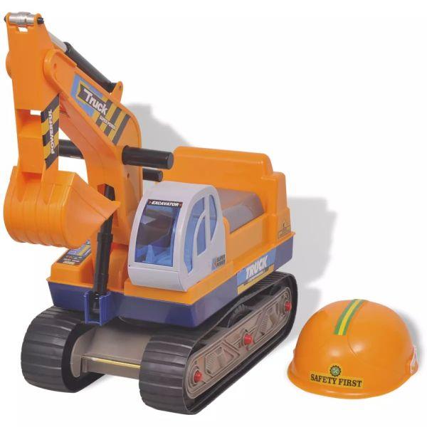 vidaXL Excavator rotativ din plastic pentru copii Galben