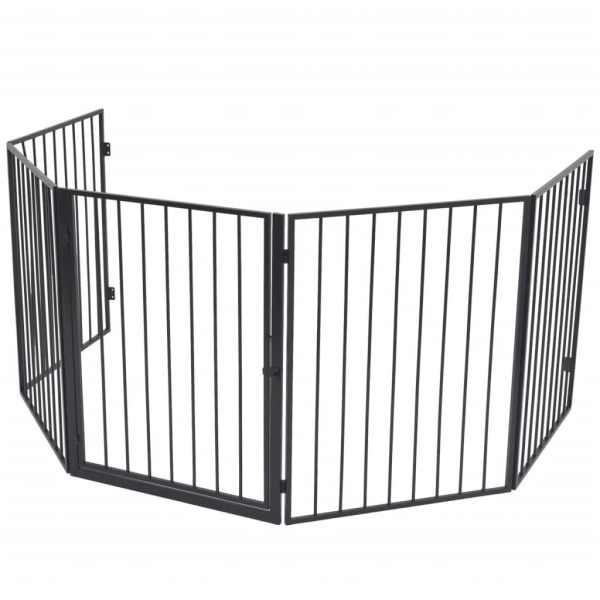 vidaXL Gard de protecție din oțel pentru șemineu, Negru