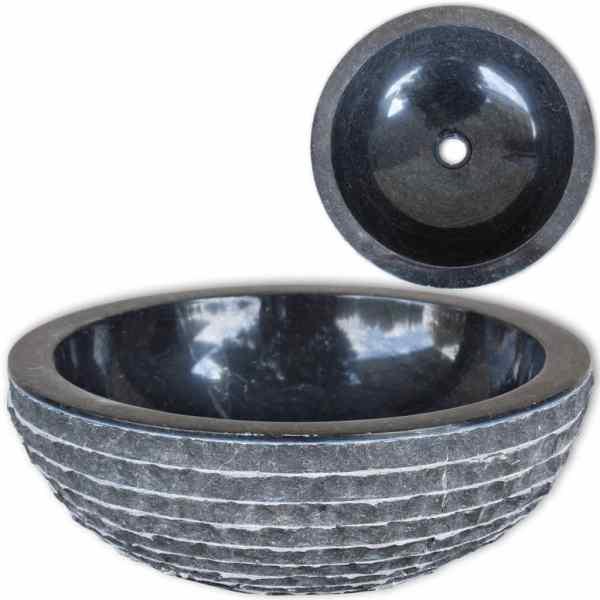 vidaXL Chiuvetă, negru, 40 cm, marmură