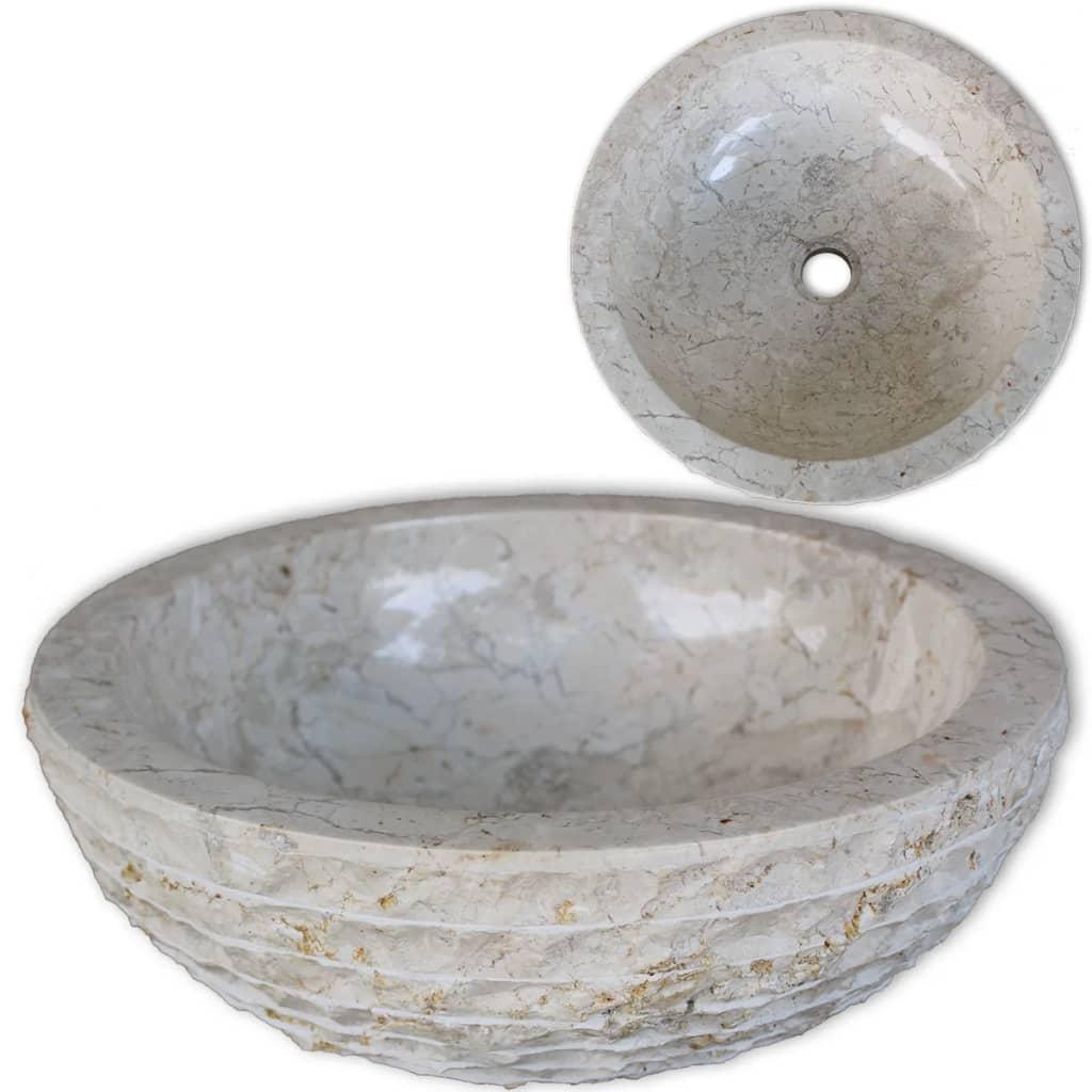 vidaXL Chiuvetă, crem, 40 cm, marmură