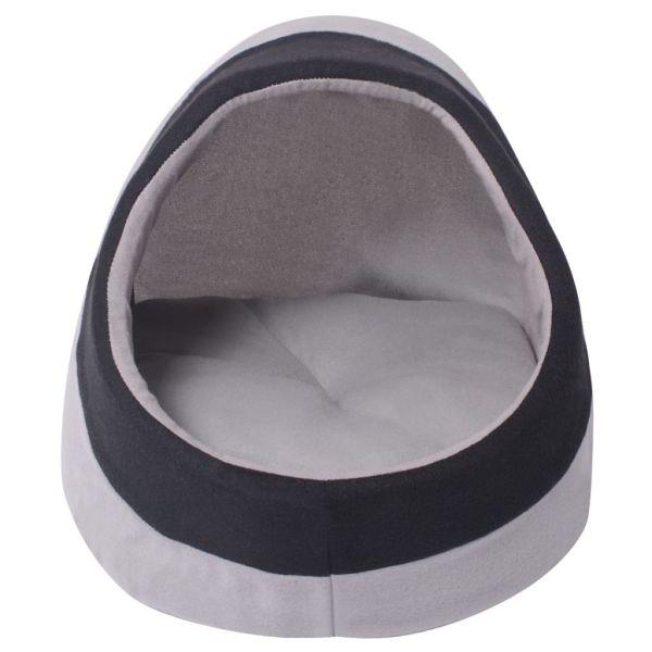 vidaXL Pătuț pentru pisici M, gri și negru