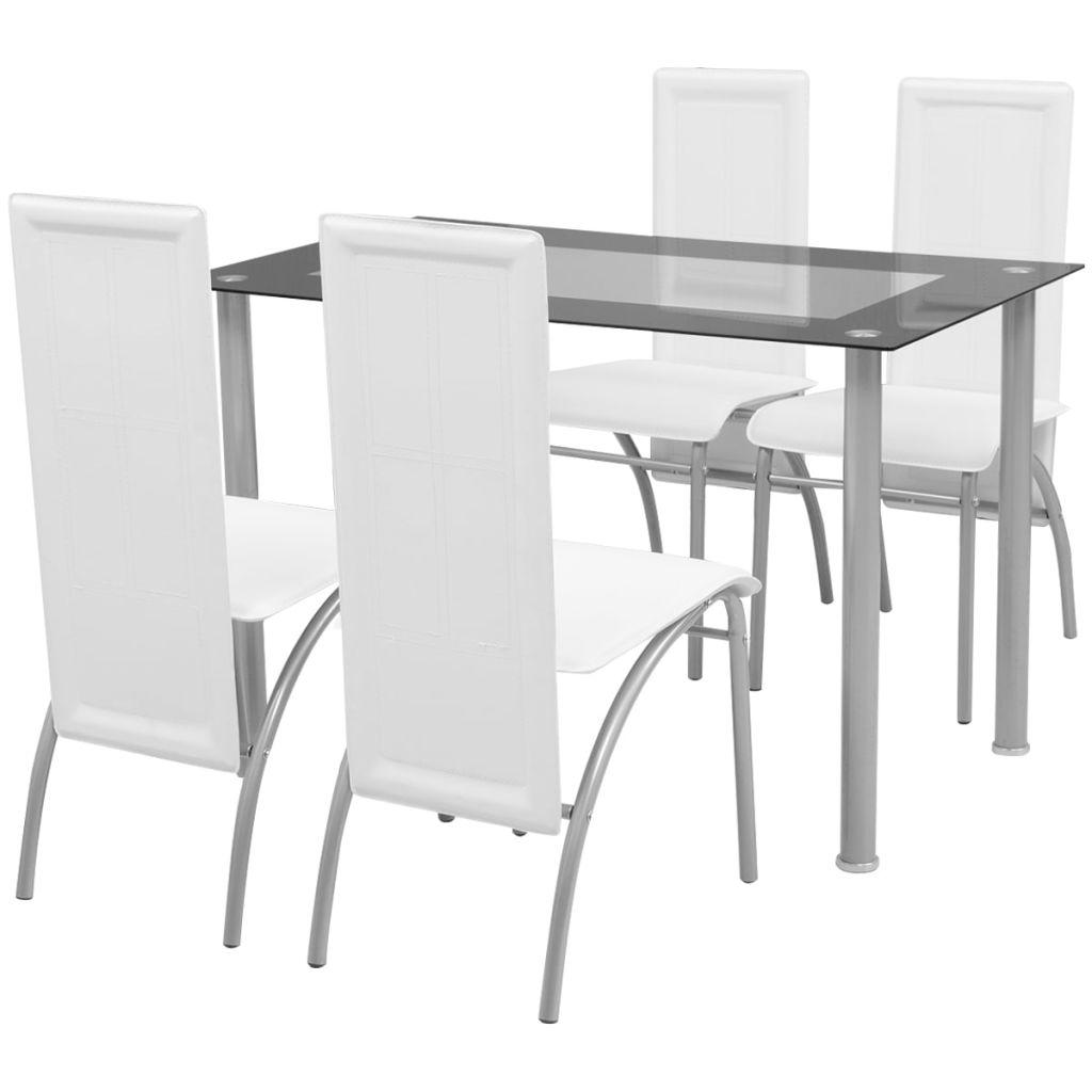 vidaXL Set masă cu scaune, 5 piese, Alb