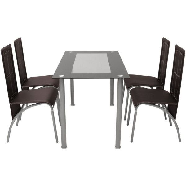 Set masă și scaune de bucătărie 5 piese, Maro