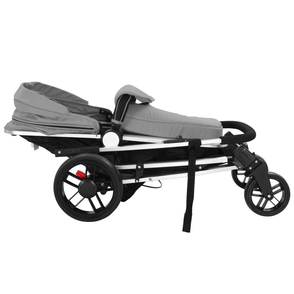 Cărucior/landou pentru copii 2-în-1, gri și negru, aluminiu