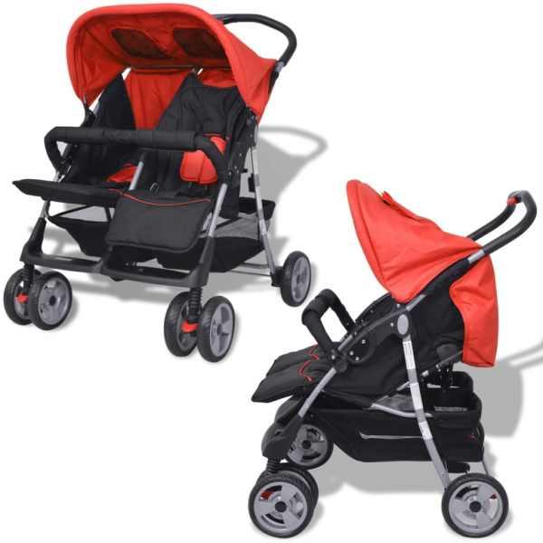 vidaXL Cărucior dublu pentru copii, roșu și negru, oțel