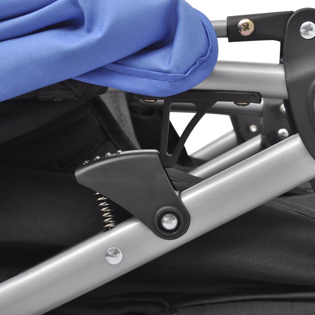 vidaXL Cărucior dublu pentru copii, albastru și negru, oțel