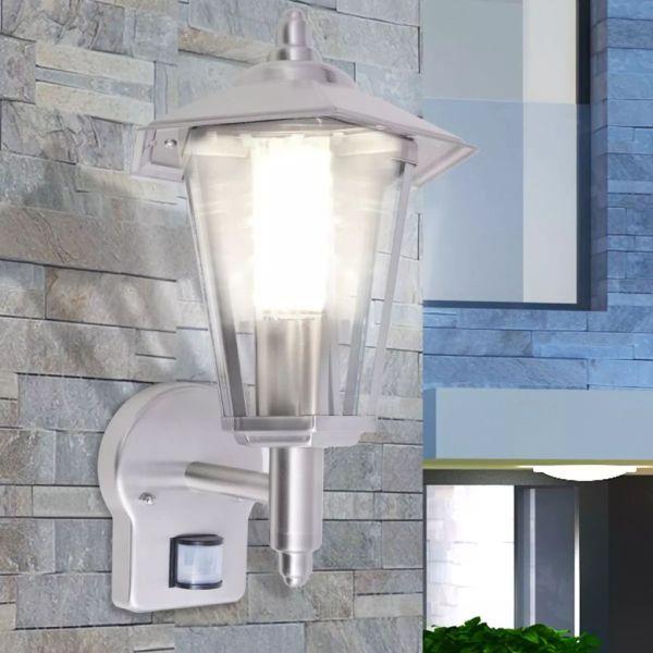 vidaXL Felinar exterior cu senzor, montare pe perete, oțel inoxidabil
