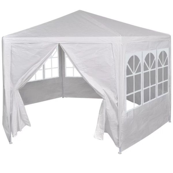 42346 vidaXL Marquee with 6 Side Walls White 2×2 m