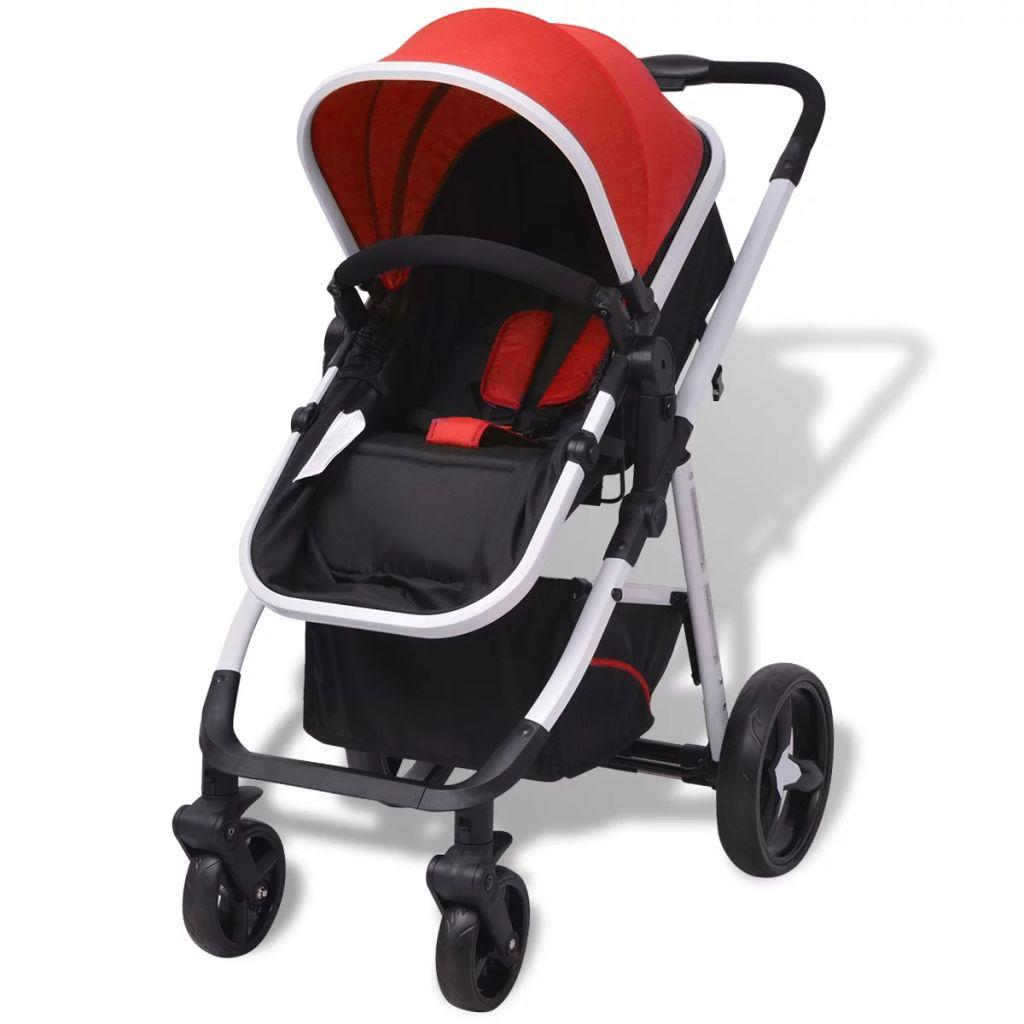 Cărucior pentru copii 3-în-1, roșu și negru, aluminiu