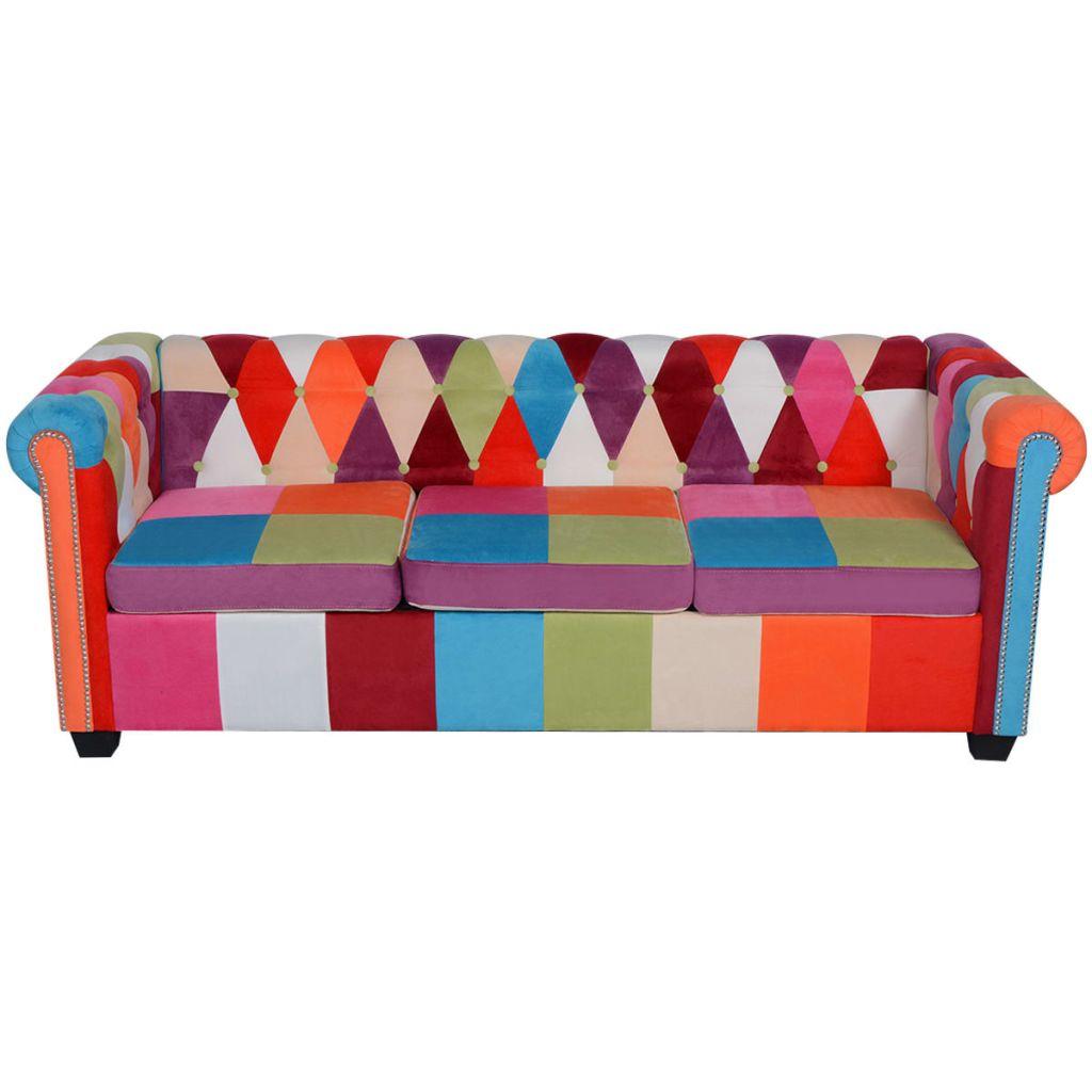 Canapea Chesterfield textilă cu 3 locuri