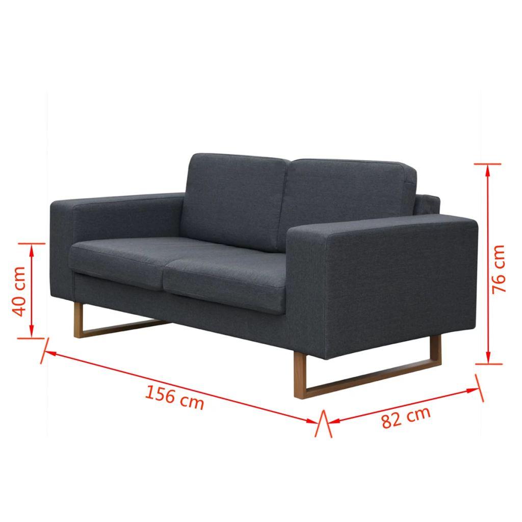 Canapea pentru 2 persoane, Gri închis
