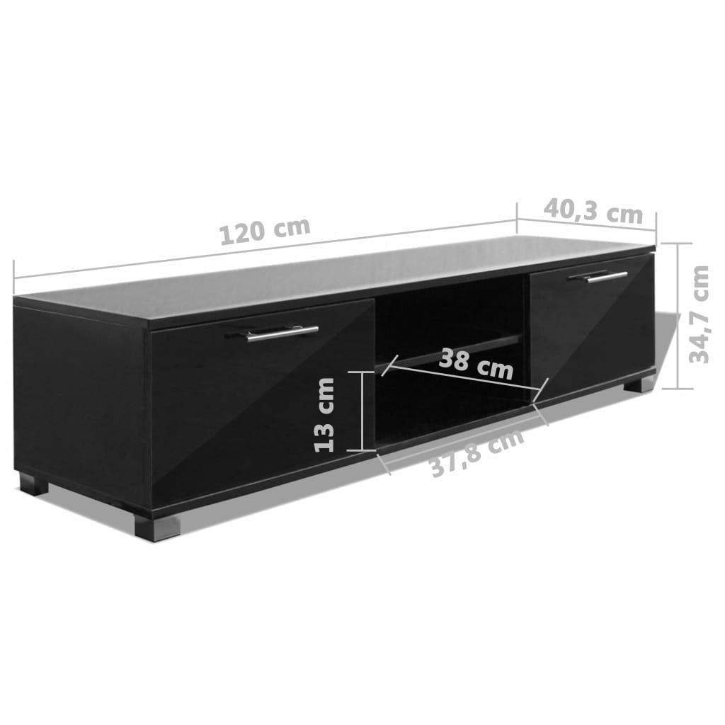 Comodă TV, negru extralucios, 120 x 40,3 x 34,7 cm
