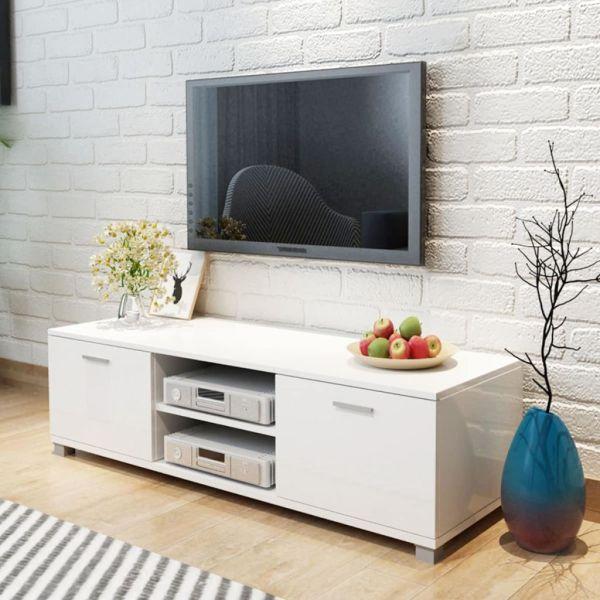 vidaXL Comodă TV, alb extralucios, 140 x 40,3 x 34,7 cm