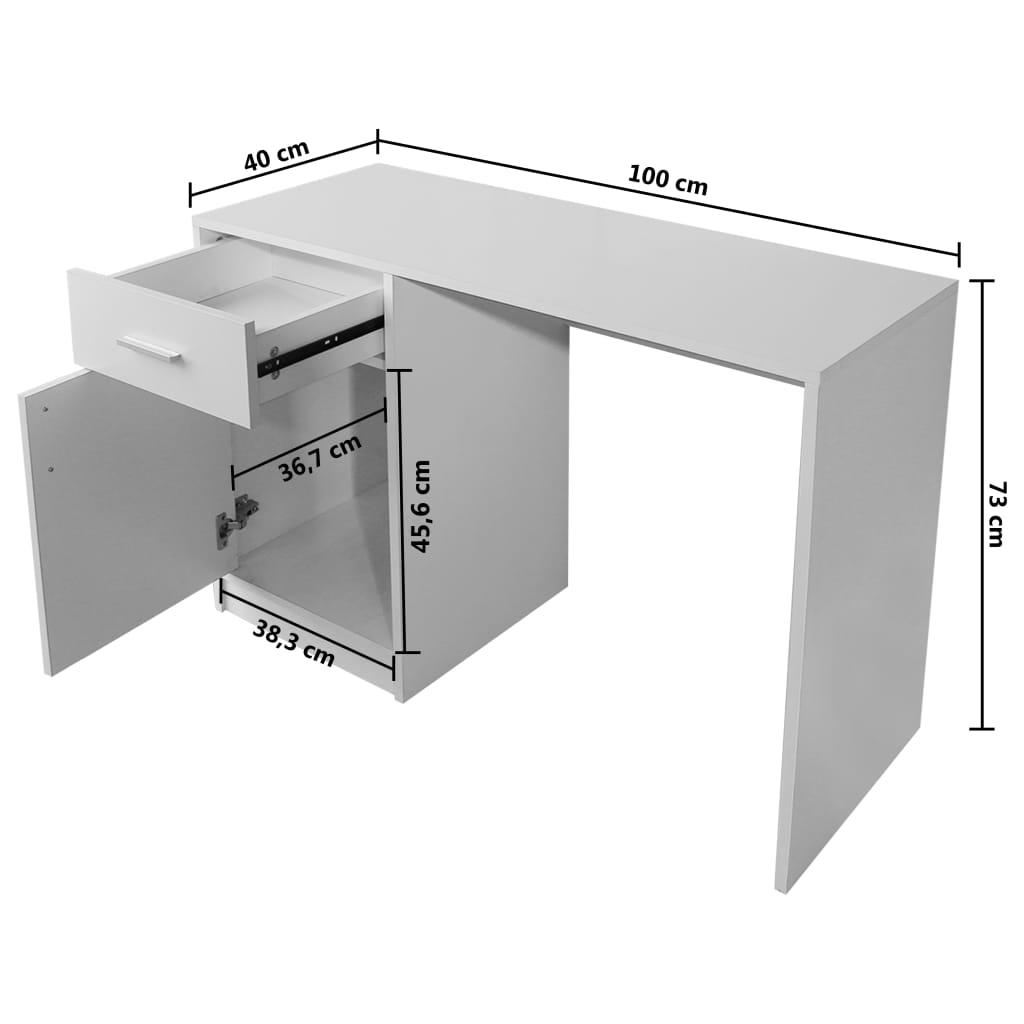 Birou cu sertar și dulap, 100 x 40 x 73 cm, alb