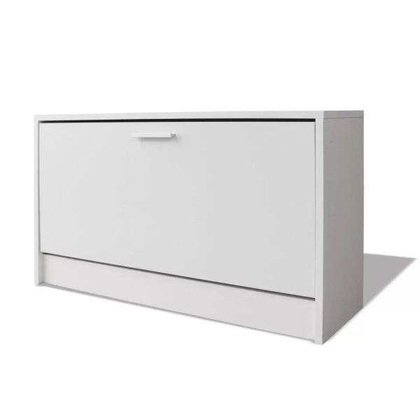 Banca de stocare pentru pantofi, 80x24x45 cm, alb