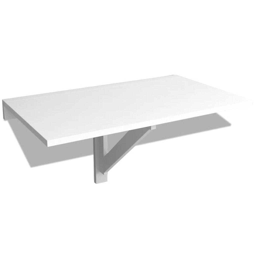 vidaXL Masă de perete pliabilă, alb, 100 x 60 cm