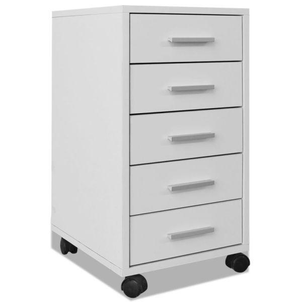 vidaXL Dulap de birou cu rotile și 5 sertare, alb