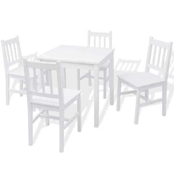 Set cu masă și scaune din lemn de pin, 5 piese