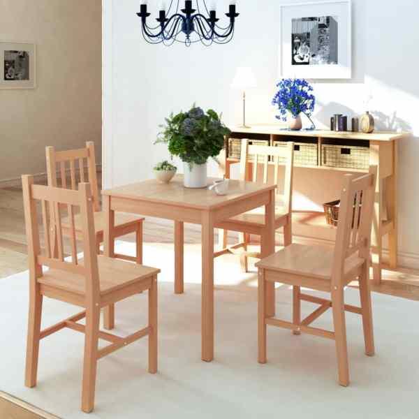 vidaXL Set masă și scaune din lemn de pin, 5 piese