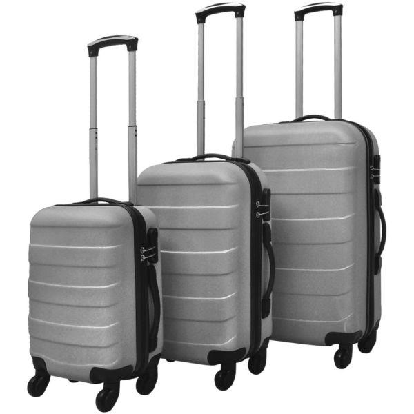 vidaXL Set valize rigide argintii, 3 buc.