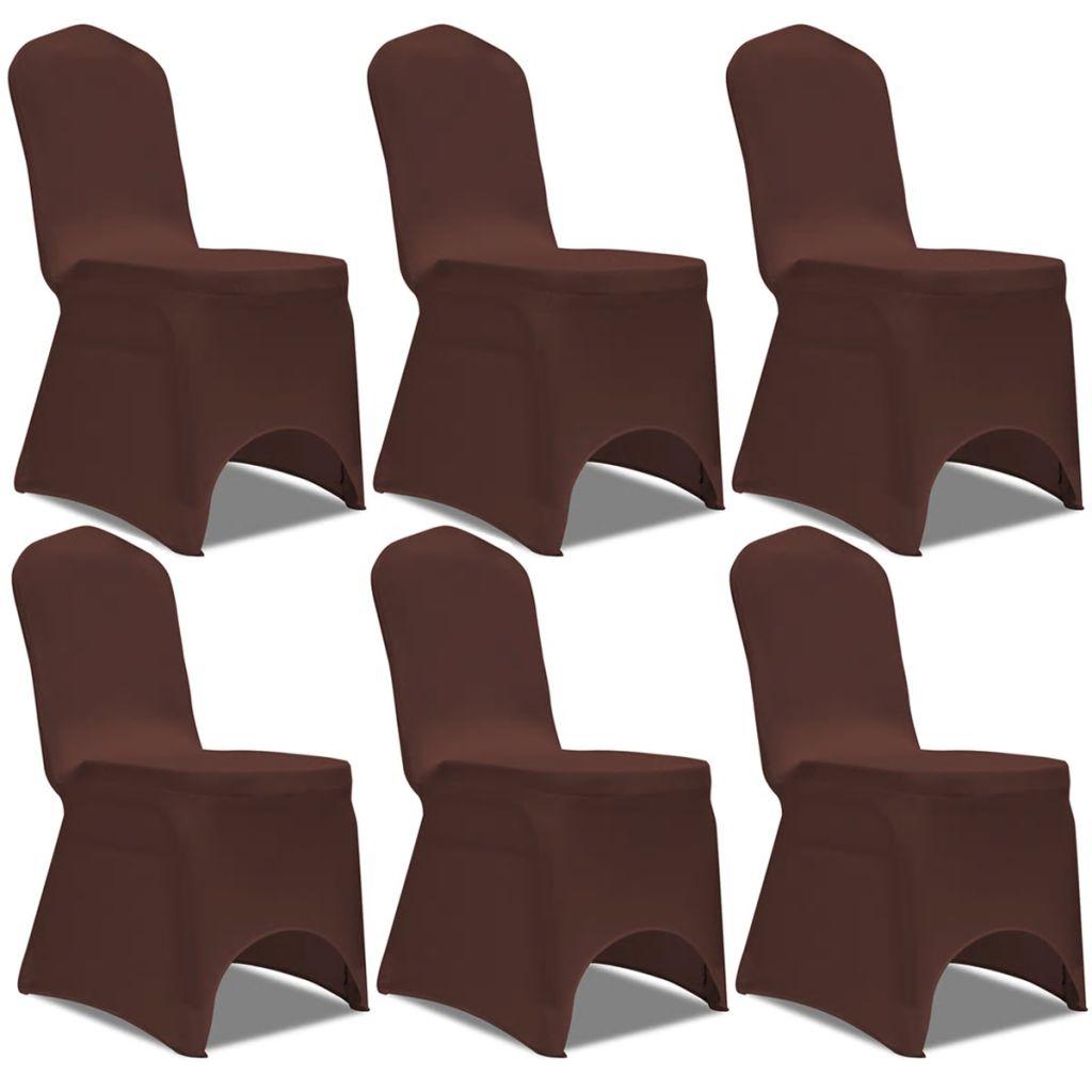 vidaXL Husă elastică pentru scaun, maro, 6 buc.