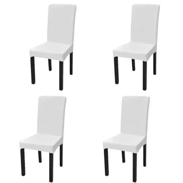 vidaXL Husă elastică dreaptă pentru scaun, alb, 4 buc.