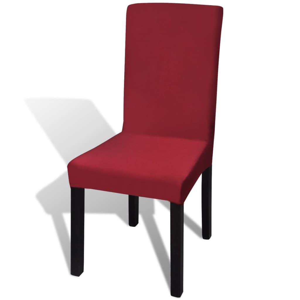 vidaXL Husă elastică dreaptă pentru scaun, bordo, 4 buc.