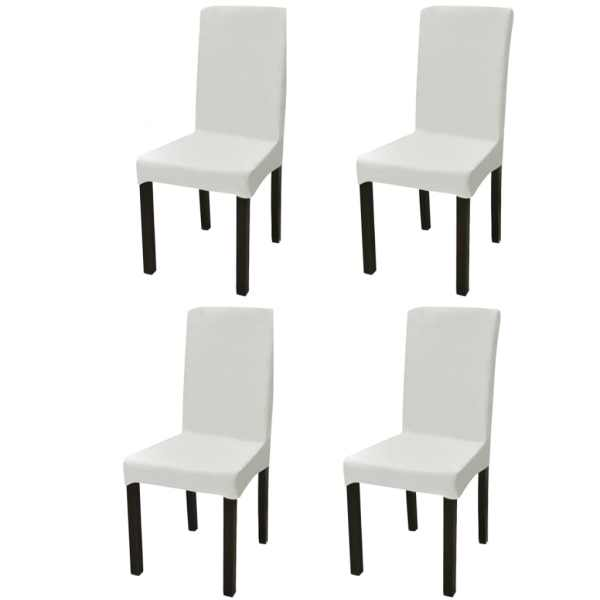 vidaXL Husă elastică dreaptă pentru scaun, crem, 4 buc.