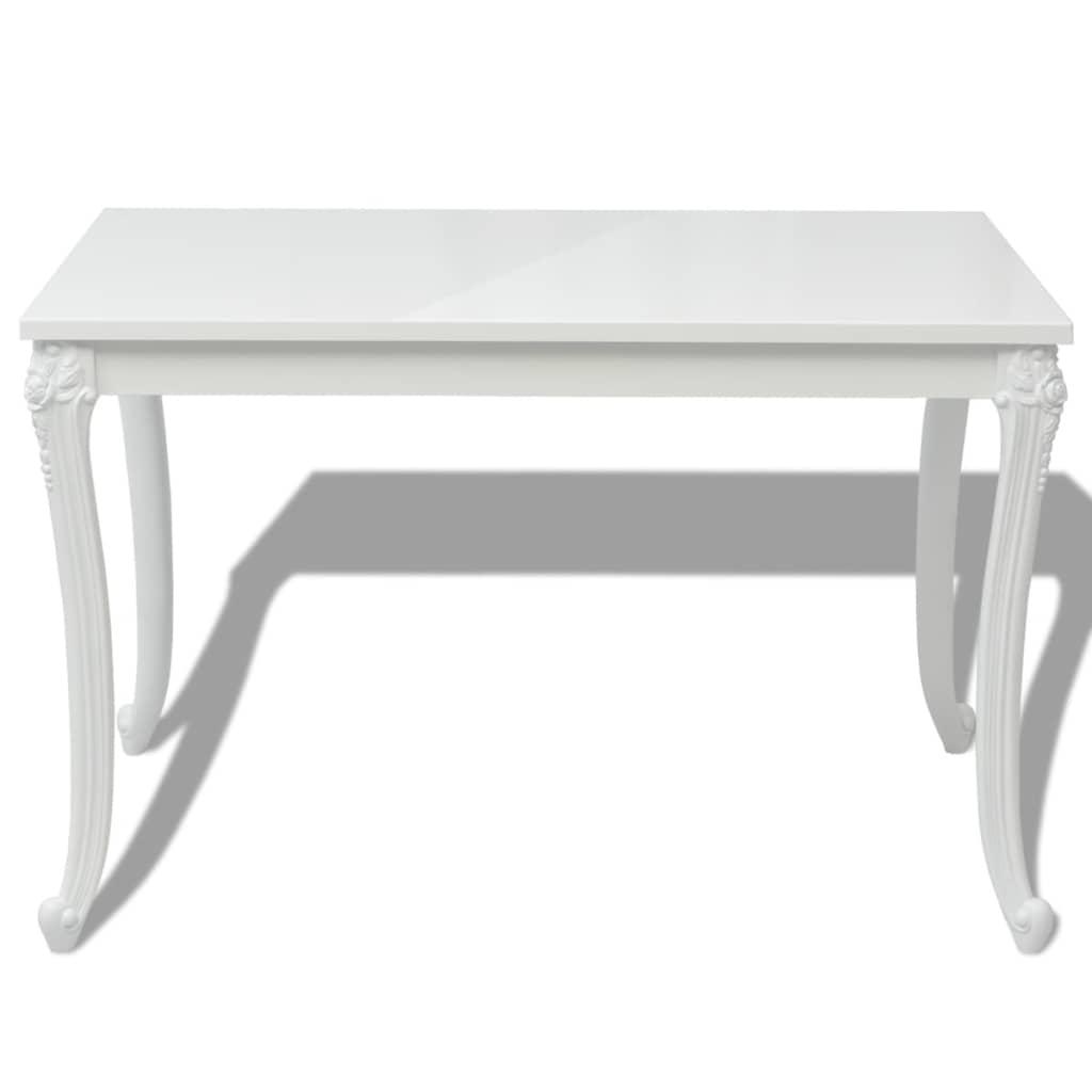 Masă de bucătărie lucioasă, 116 x 66 x 76 cm, alb