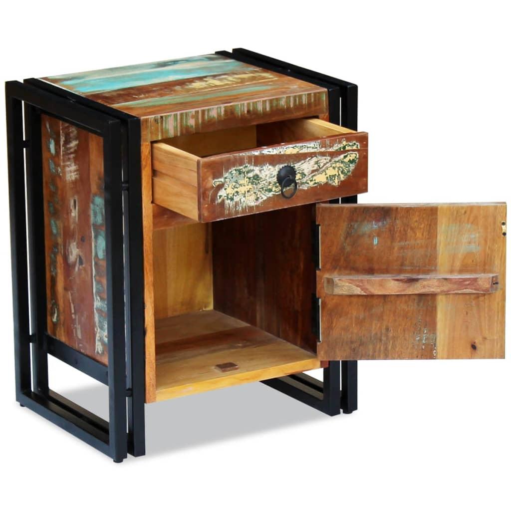 Noptieră din lemn reciclat de esență tare
