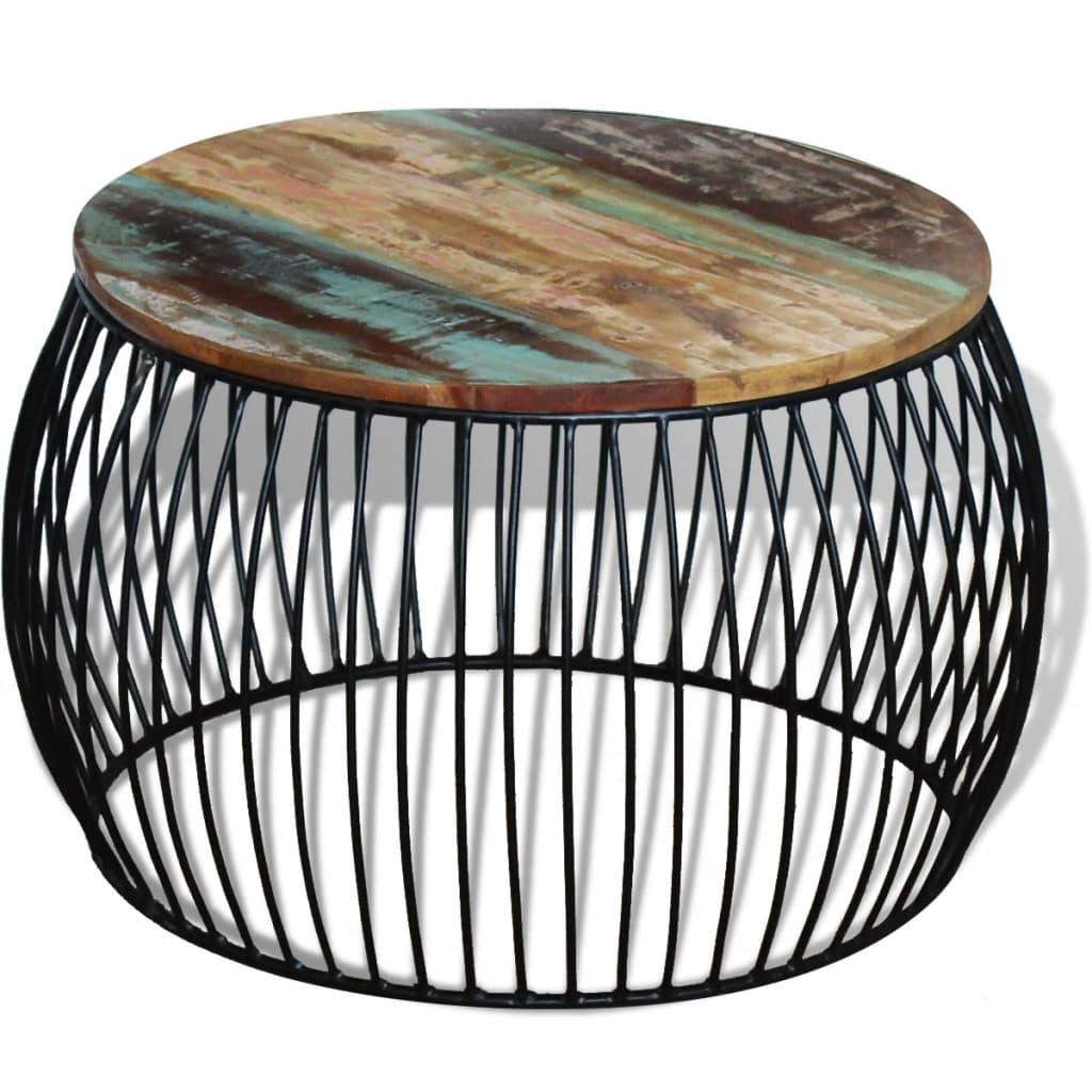 vidaXL Masă de cafea rotundă, lemn reciclat de esență tare, 68×43 cm