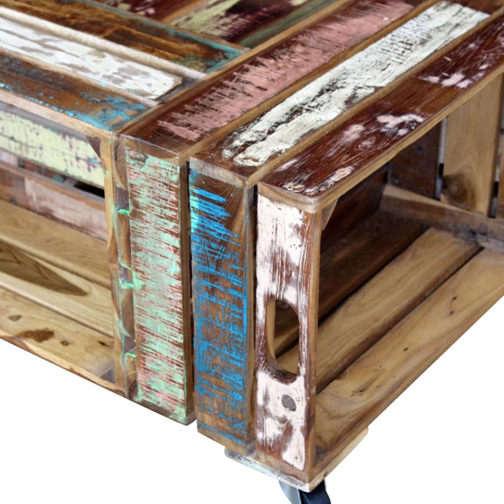Masă de cafea din lemn solid reciclat, 70 x 70 x 35 cm