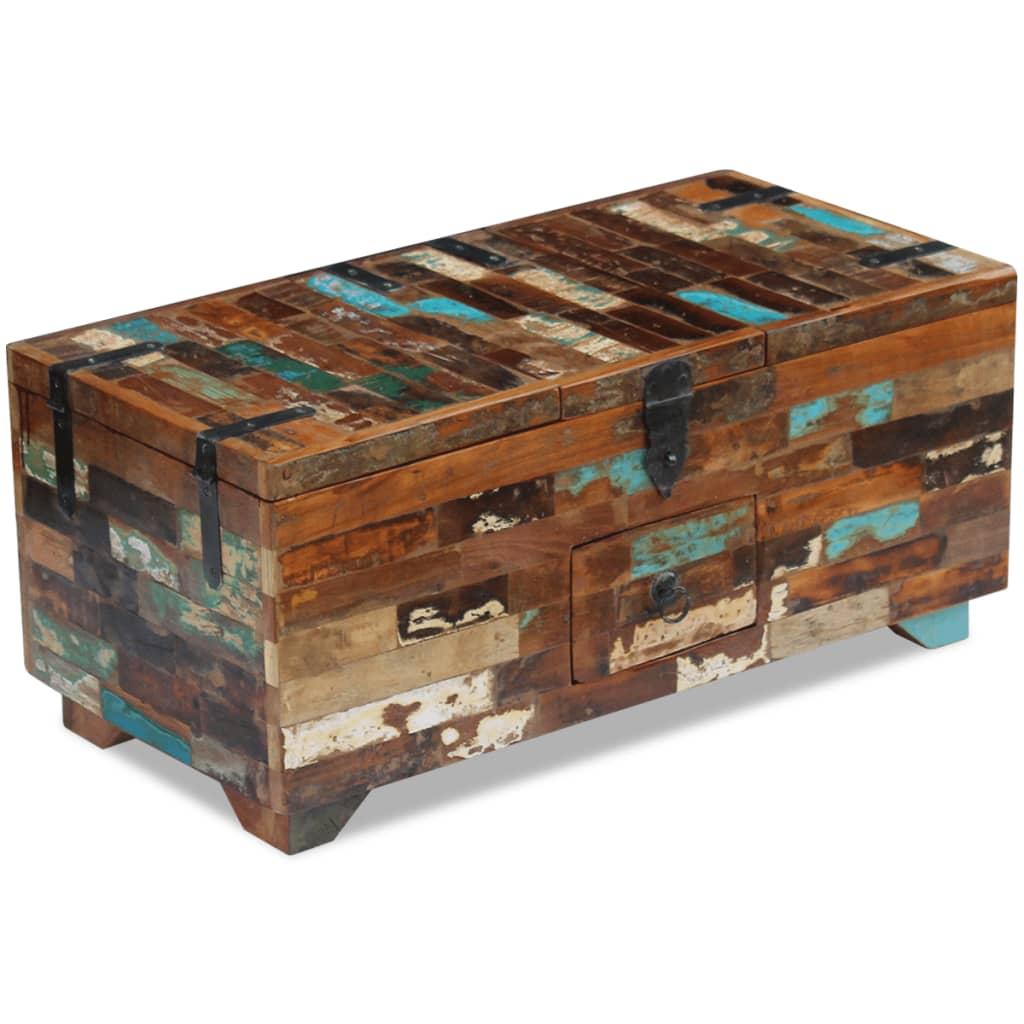 vidaXL Masă de cafea tip cufăr, lemn solid reciclat, 80 x 40 x 35 cm