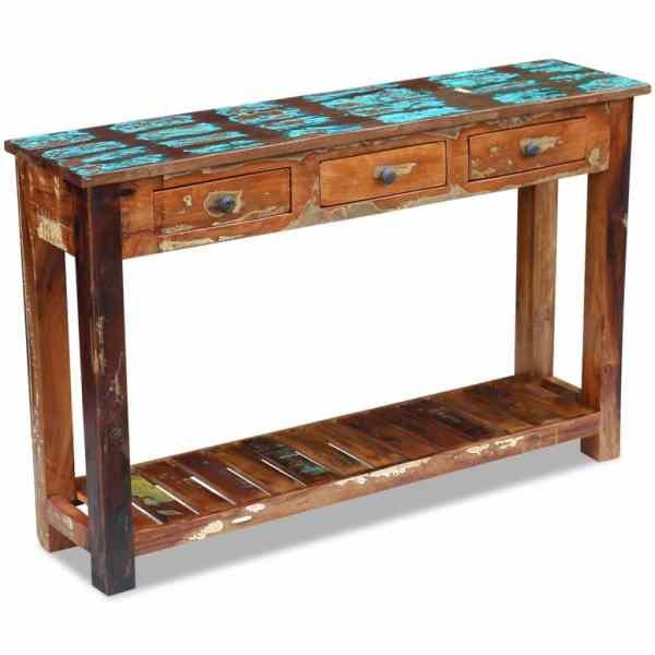 vidaXL Masă consolă, lemn reciclat de esență tare, 120x30x76 cm