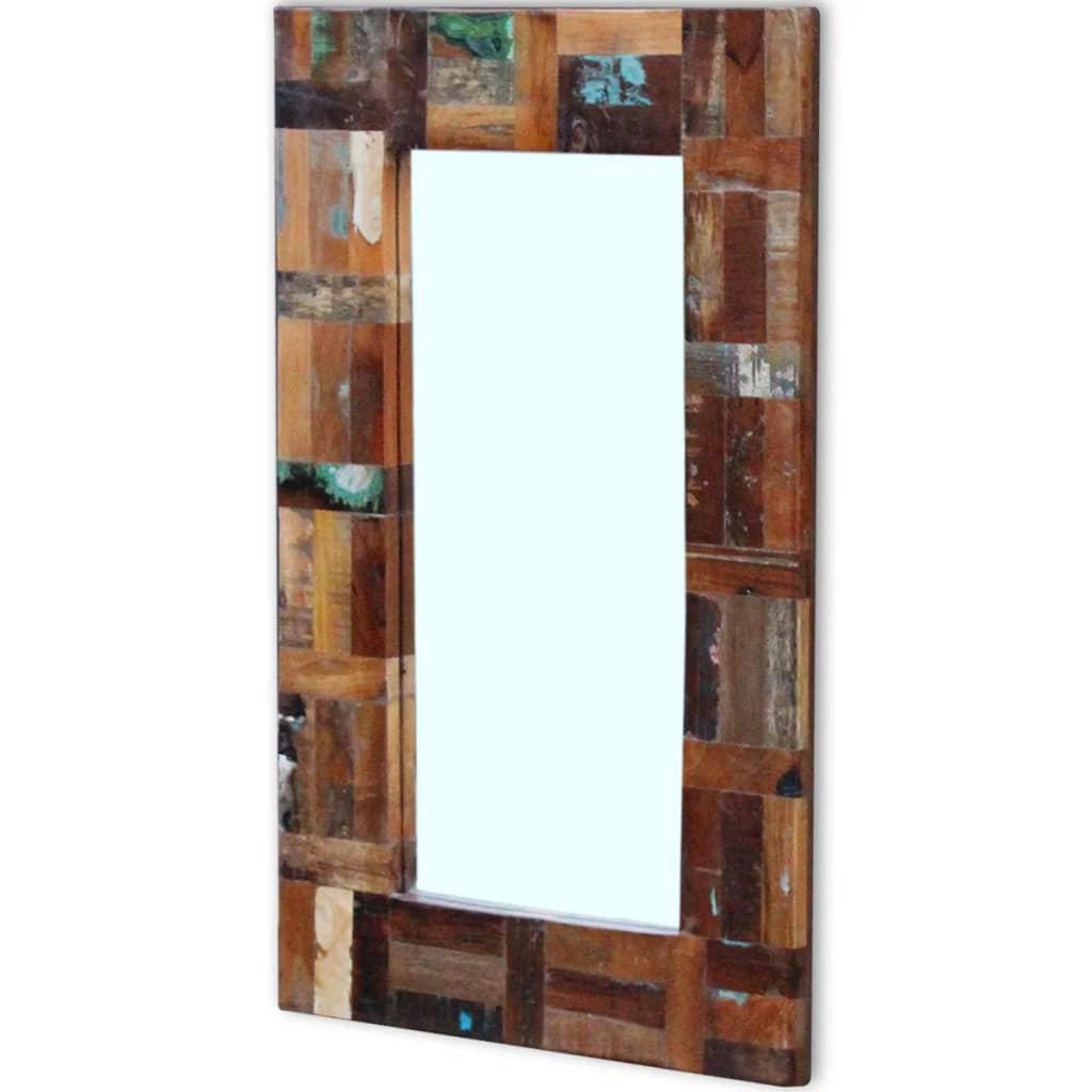 vidaXL Oglindă din lemn reciclat de esență tare, 80×50 cm