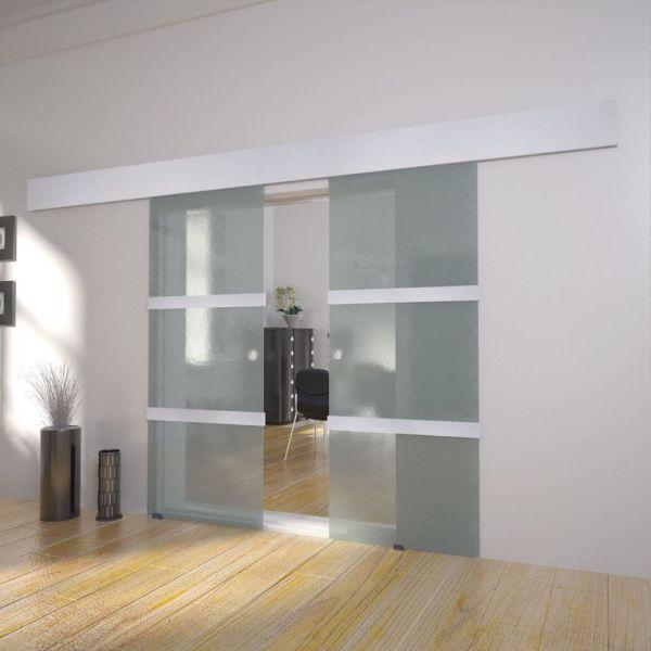 vidaXL Ușă glisantă dublă din sticlă